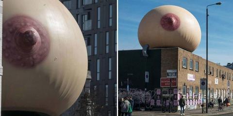 Ce sein géant posé en pleine rue décomplexe l...