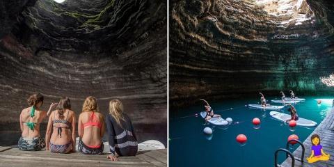 Qui veut faire du yoga en paddle dans ce lieu...
