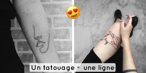 10 tatouages faits d'un seul trait