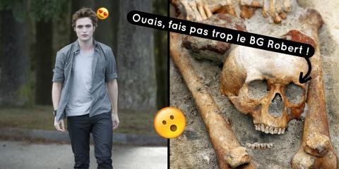 Des squelettes avec la tête placée entre les...