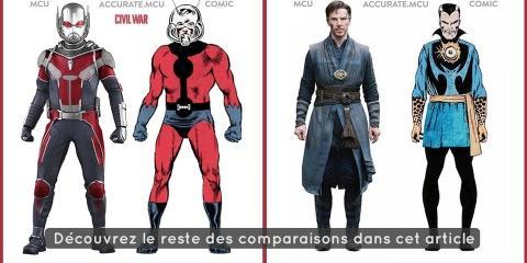 Les costumes des films marvel comparés à ceux...