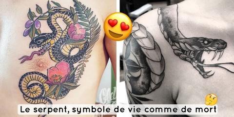 12 tatouages de serpent, symbole de vie et de...