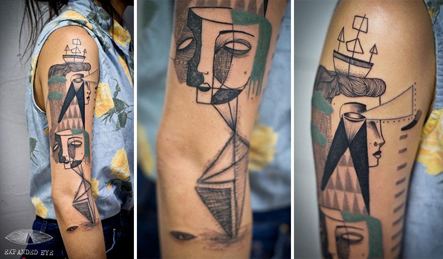 Deux Artistes Creent Des Tatouages De Styles Cubiques Totalement Magnifiques Page 2
