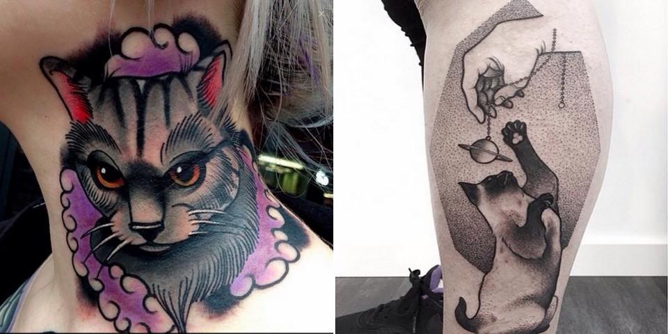 ces 13 tatouages de chats magnifiques vous feront ronronner d 39 admiration. Black Bedroom Furniture Sets. Home Design Ideas