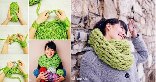 Comment tricoter une écharpe sans aiguille et en moins de 30 minutes