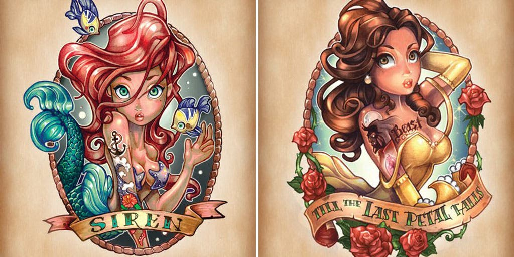 11 images de princesses disney revisit es fa on tatouages badass. Black Bedroom Furniture Sets. Home Design Ideas