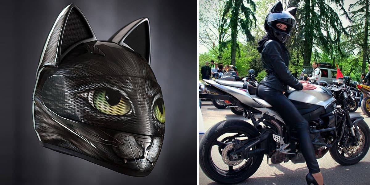 Casque moto chat