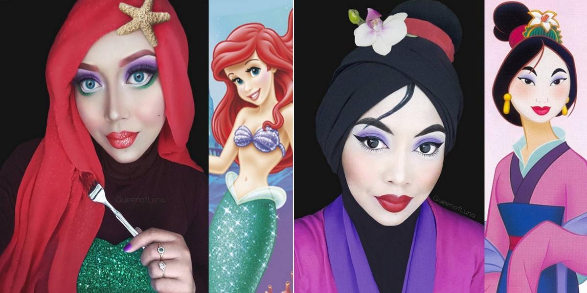 A l 39 aide de son voile cette femme se transforme en princesses disney - Maquillage princesse disney ...