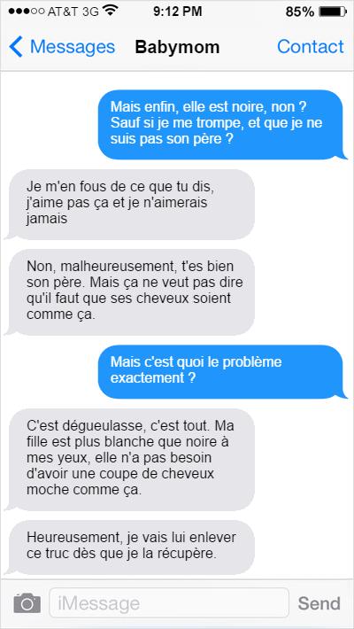 messages texto entre un papa et la maman au sujet de leur fille