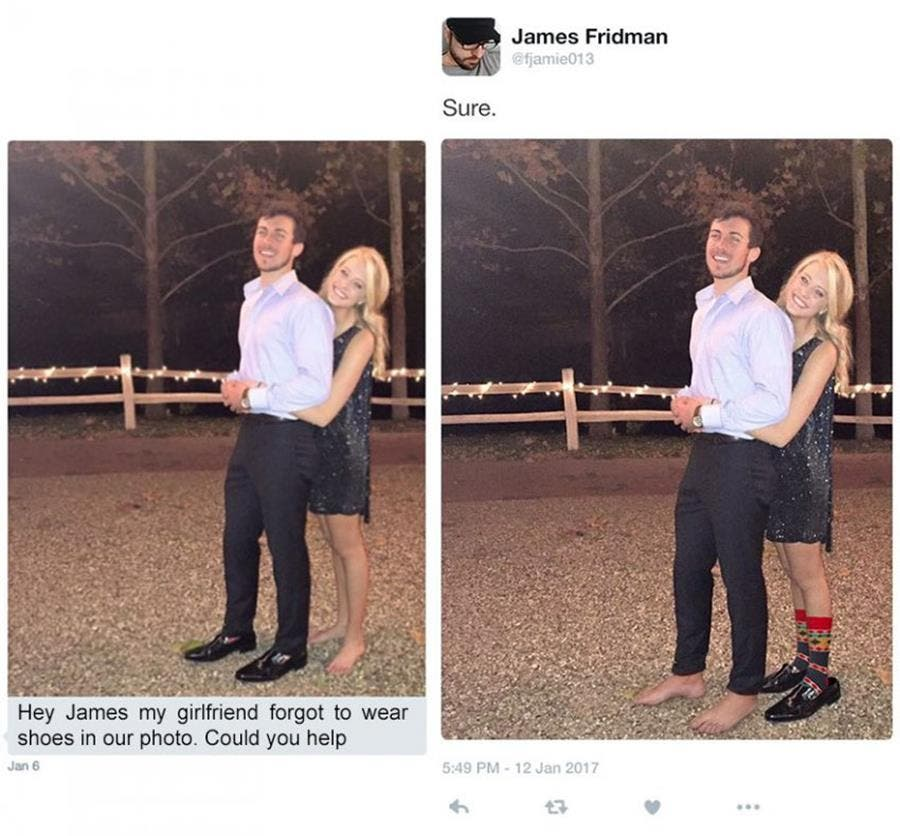 James Fridman Photoshop humour chaussures