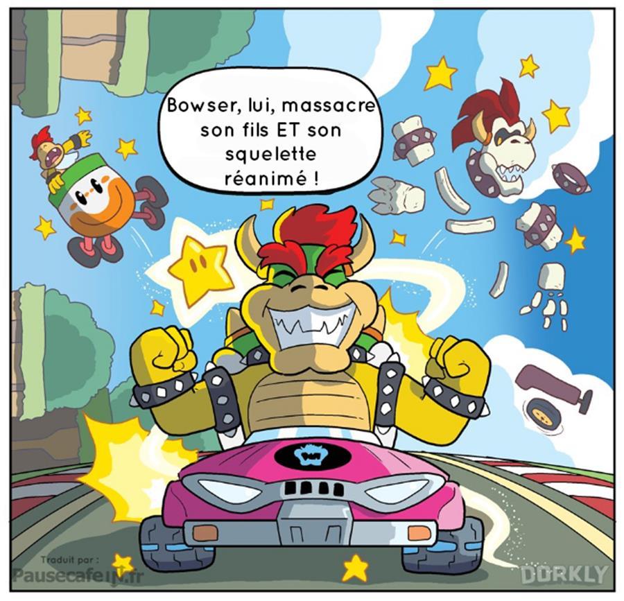 Nintendo licence Mario Kart vérités atroces révélées Bowser Mini Bowser squelette massacre