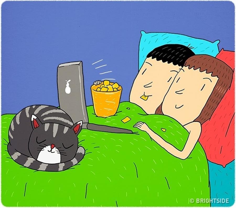 Amour couple illustrations Leonid Khan humour Netflix nourriture chill