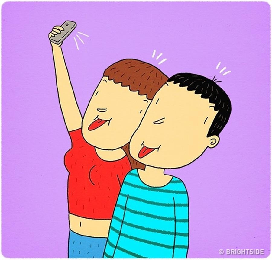 Amour couple illustrations Leonid Khan humour selfie grimaces