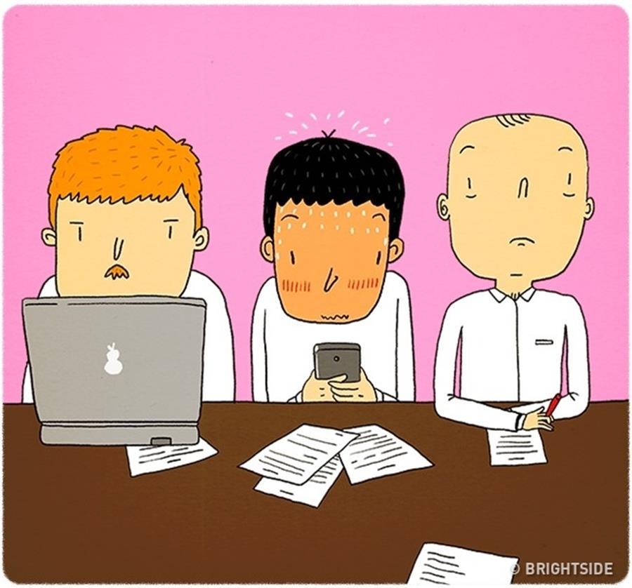 Amour couple illustrations Leonid Khan humour sexto réunions professionnelles