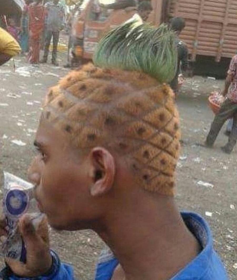 ananas, cheveux, beau gosse