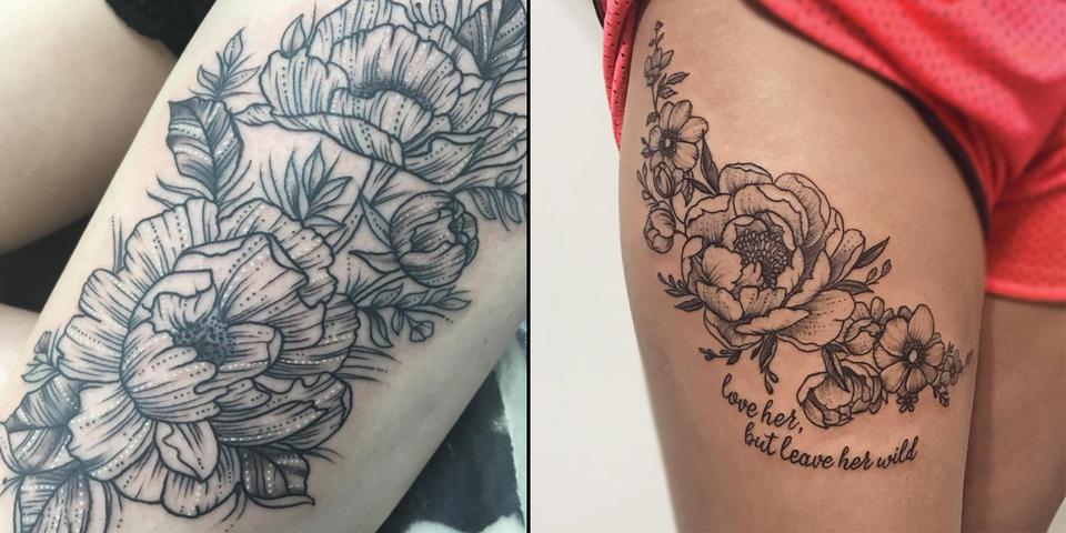 10 magnifiques tatouages de pivoines pour vous inspirer. Black Bedroom Furniture Sets. Home Design Ideas