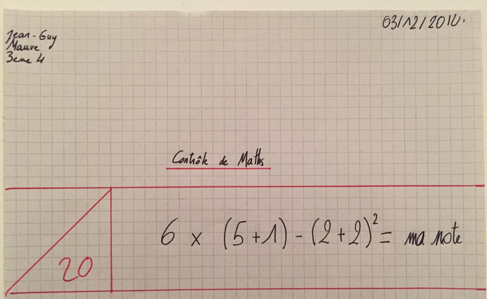 calcul de note et mathématique