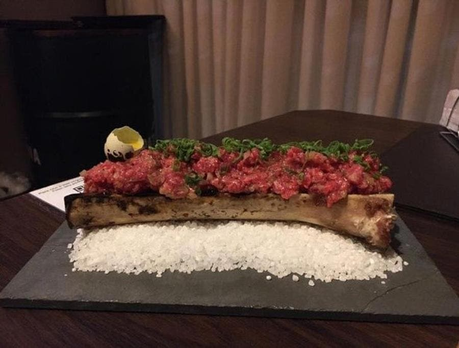 steak tartare, gros sel, os, restaurant, chef