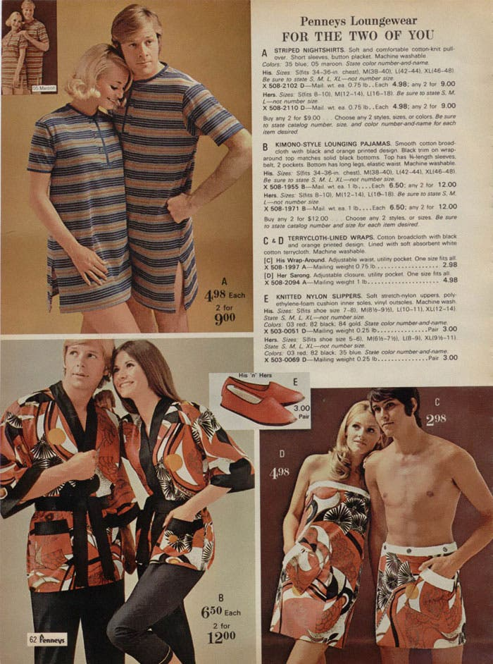 Mode 1970 décennies tenues assorties couple fashion pyjama