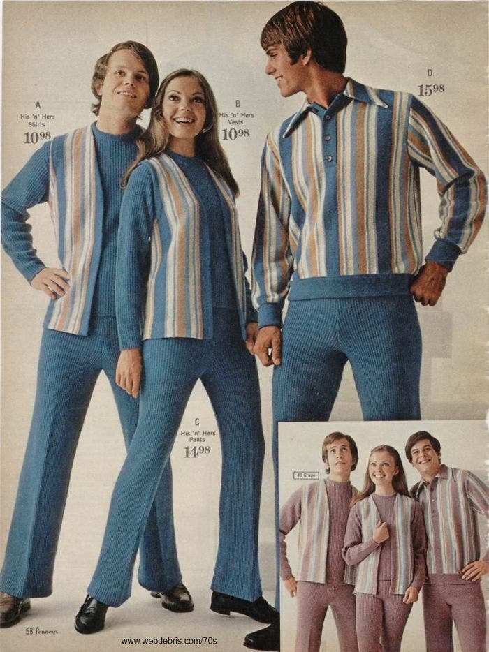 Mode 1970 décennies tenues assorties couple fashion rayures