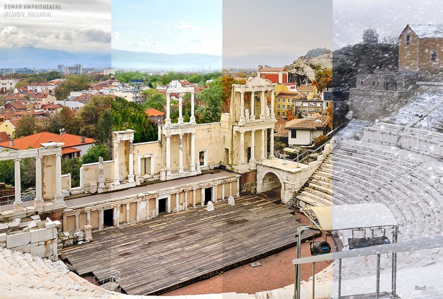 Un photographe immortalise des endroits du monde durant les quatre saisons