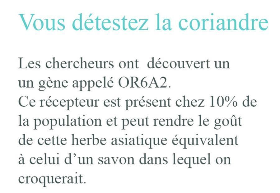 explication scientifique, coriandre