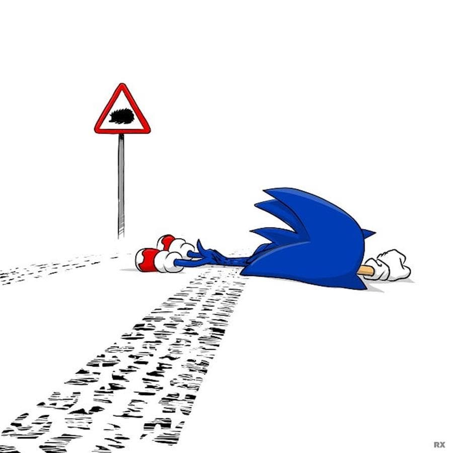 rx strip, humour noir, illustration, sonic
