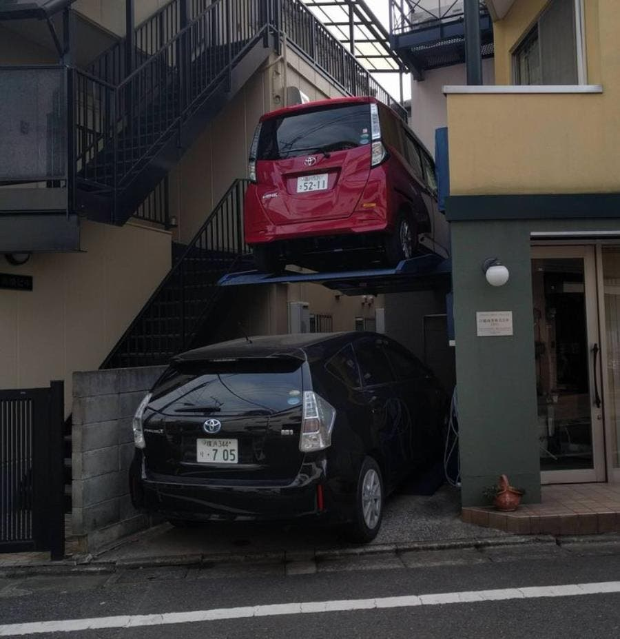 parking, vertical, voiture, Japon