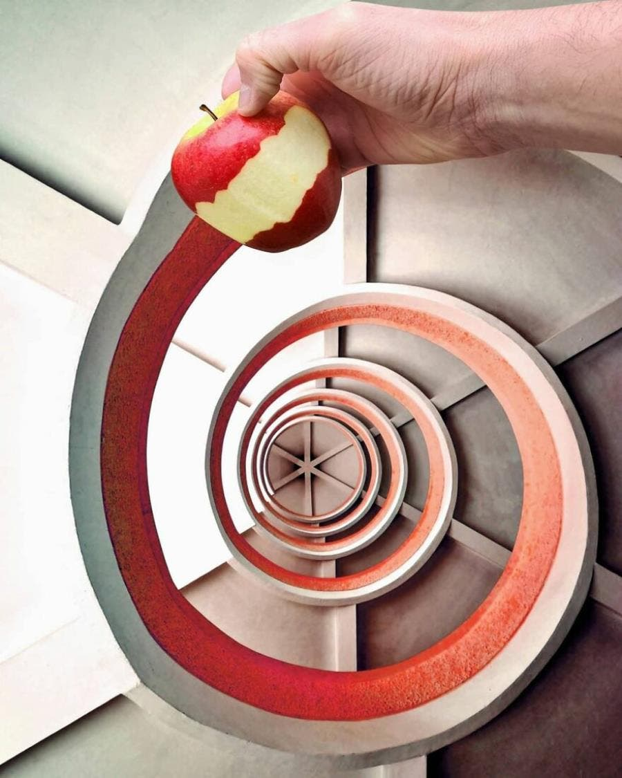 hugo suissas, photo, perspective, pomme, infini