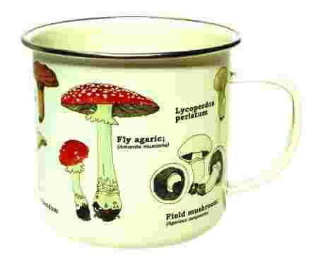 tasse émail champignons