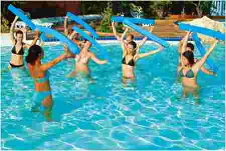 aquagym, cours, frites, piscine