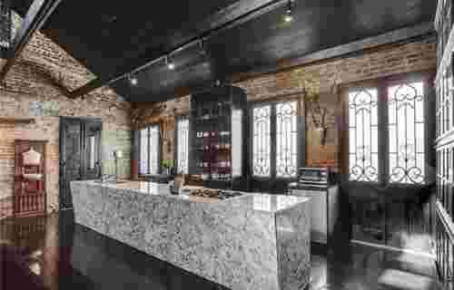 la cuisine marbre comptoir bar maison