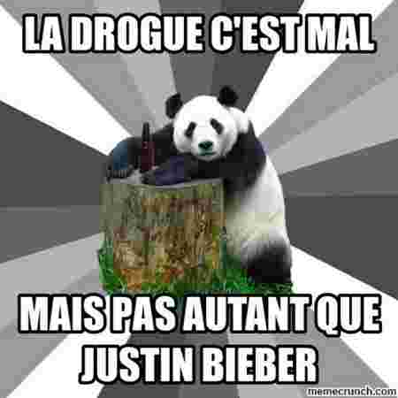 drogue mauvais justin bieber chanter montage phrase photo panda bambou