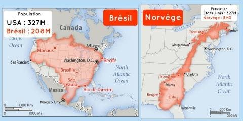 15 pays comparés en superficie et en populati...