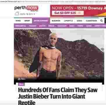 capture d'écran PertNow article Bieber reptilien