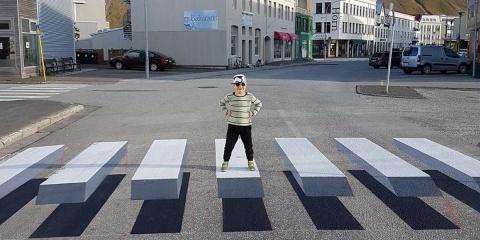 En Islande un passage piétons en 3D fait hall...