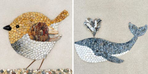 10 sculptures en coquillages faites par Anna...