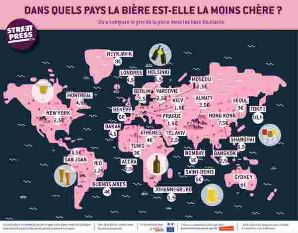 quels sont les pays o la bi re est la moins ch re voici la carte. Black Bedroom Furniture Sets. Home Design Ideas