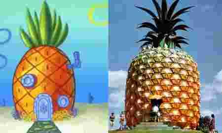 bob, eponge, maison, ananas