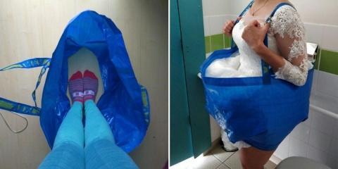 Une mariée utilise un sac IKEA pour faire pip...