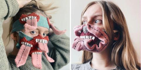 Elle tricote des masques flippants pour s'ass...