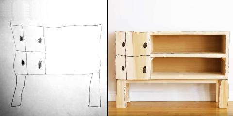Un papa crée le meuble que son fils a dessiné...