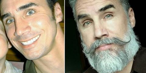 La barbe a complètement transformé le visage...