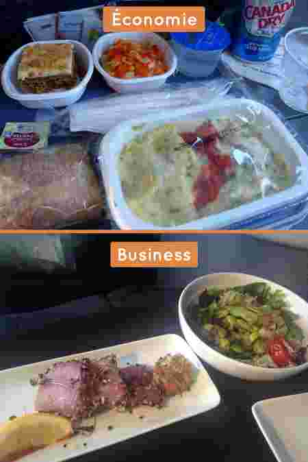 american airlines, repas, business vs eco