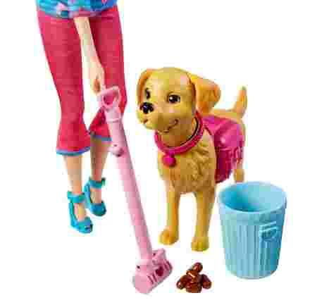 Barbie, chien, caca, ramasse