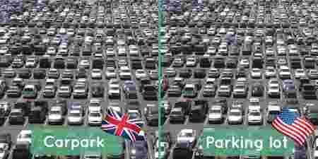 différences anglais américain, parking