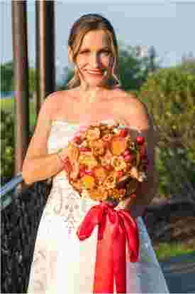 mariee, bouquet, pizza