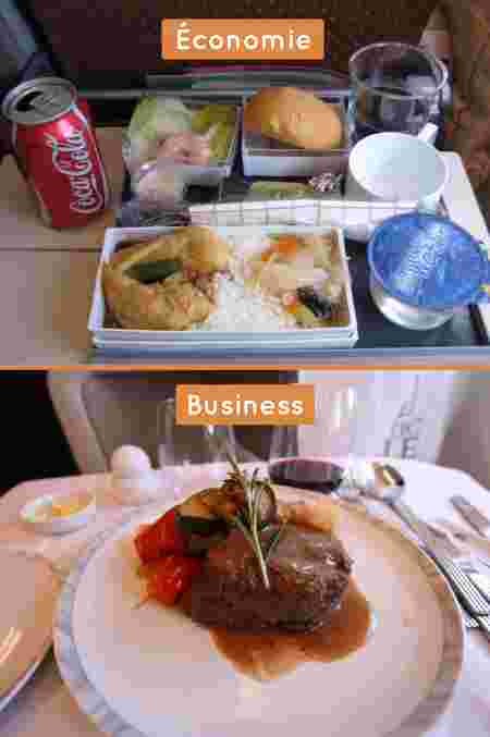 business vs eco, singapore airlines, repas
