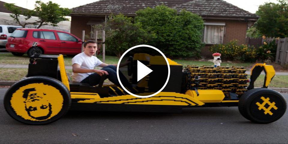 video il construit une vraie voiture avec des lego m me le moteur. Black Bedroom Furniture Sets. Home Design Ideas